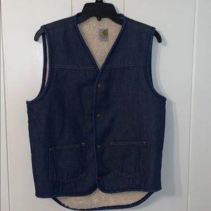 Vtg Carhatt denim vest with fake Sherpa lining